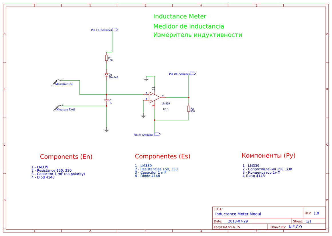 Arduino Digital Multimeter Neco Lm339 Circuit Diagram Below You Will Find Two Schematics One Is How To Mount The And Other Inductance Meter That Also Connects